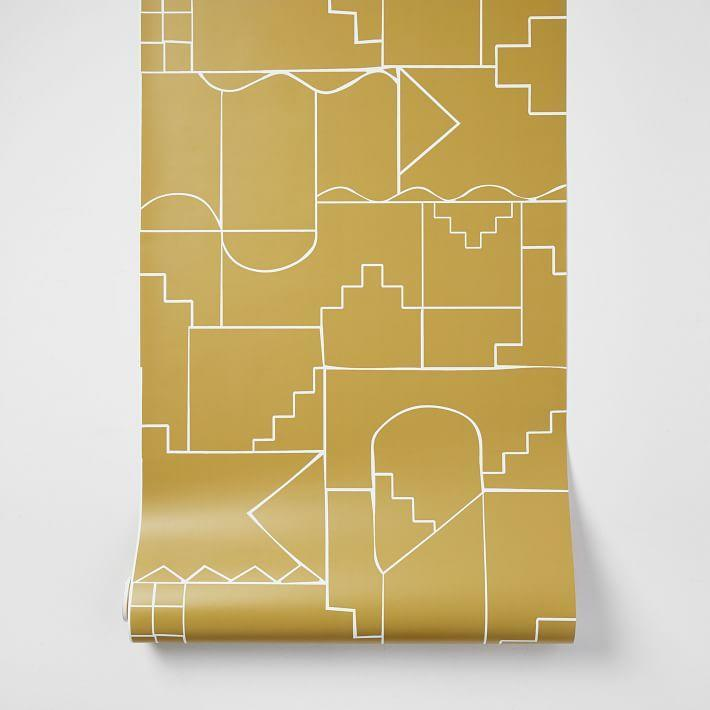 """West Elm, unexpectedly, has a huge assortment of wallpaper rolls <strong>and</strong> peel-and-stick papers. They also have wall murals and even wall panels to elevate your space. This labyrinthine print is available in white, black, gray, and dark horseradish (pictured). $149, West Elm. <a href=""""https://www.westelm.com/products/labyrinth-wallpaper-w3278/?pkey=cwallpaper&isx=0.0.12550&group=1&sku=1457413"""" rel=""""nofollow noopener"""" target=""""_blank"""" data-ylk=""""slk:Get it now!"""" class=""""link rapid-noclick-resp"""">Get it now!</a>"""