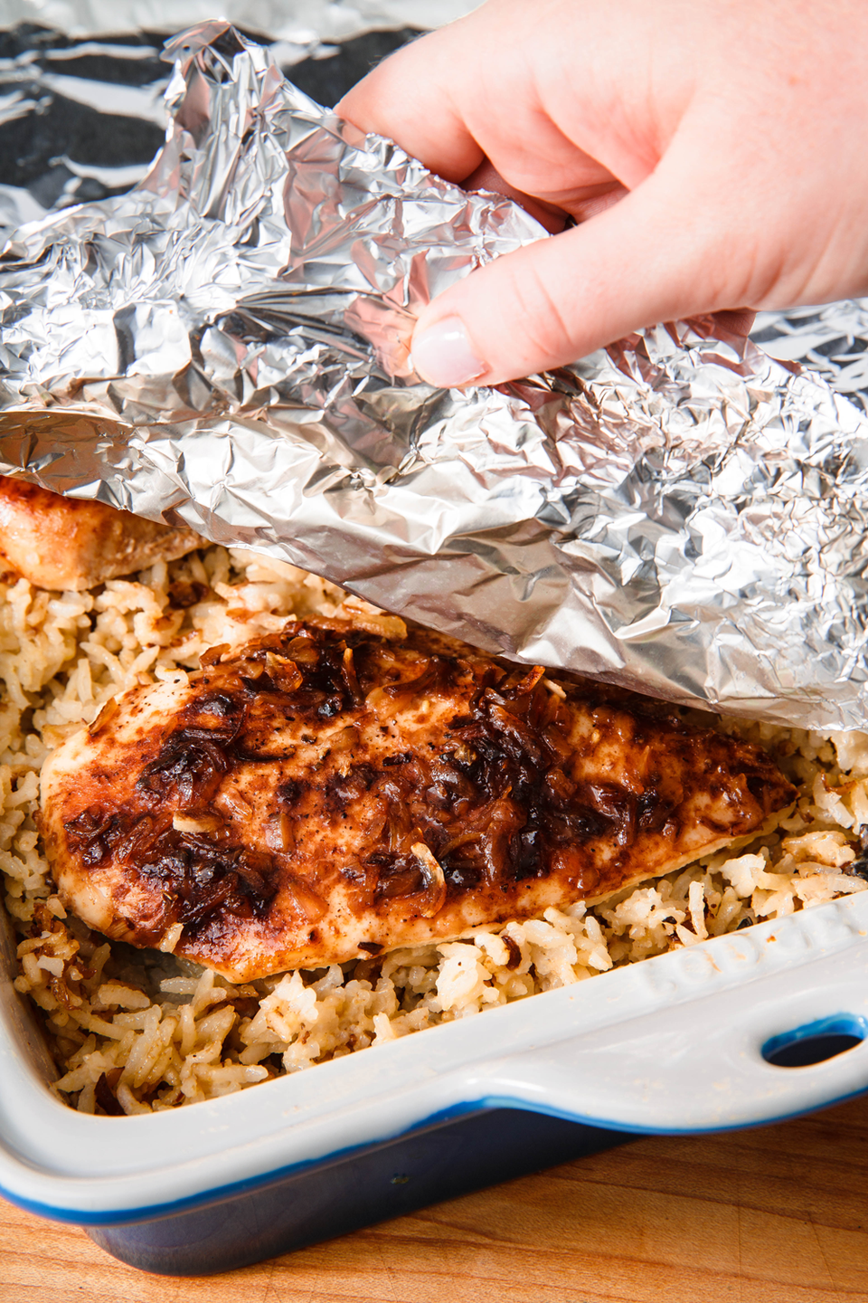 """<p>You basically just throw all the ingredients into a baking dish and let the oven do the rest. </p><p>Get the recipe from <a href=""""https://www.delish.com/cooking/recipe-ideas/a23871458/no-peek-chicken/"""" rel=""""nofollow noopener"""" target=""""_blank"""" data-ylk=""""slk:Delish"""" class=""""link rapid-noclick-resp"""">Delish</a>. </p>"""