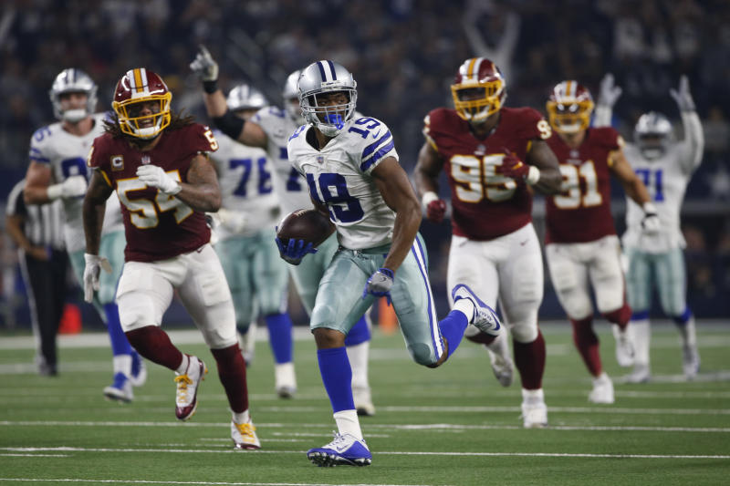 Dallas Cowboys wide receiver Amari Cooper (19) runs in for a touchdown  against Washington during the second half of an NFL football game in  Arlington 680ee70e9