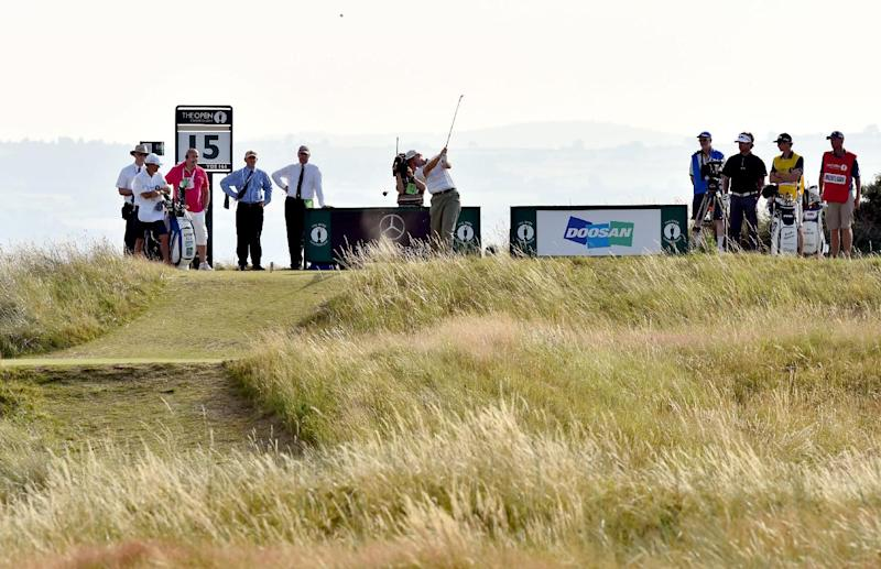 South Africa's Ernie Els plays from the 15th tee during his first round on the opening day of the 2014 British Open Golf Championship at Royal Liverpool Golf Course in Hoylake, north west England on July 17, 2014