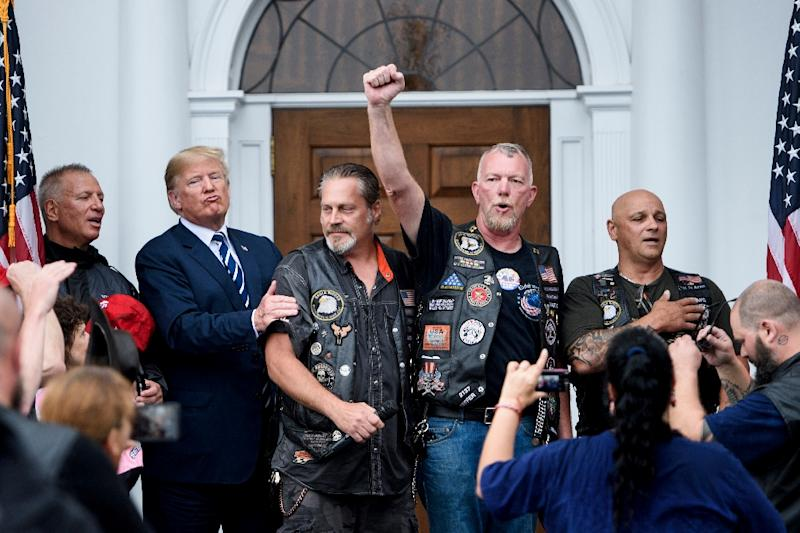 US President Donald Trump, seen here at a Bikers for Trump event on August 11, 2018, has endorsed calls for a boycott of Harley-Davidson