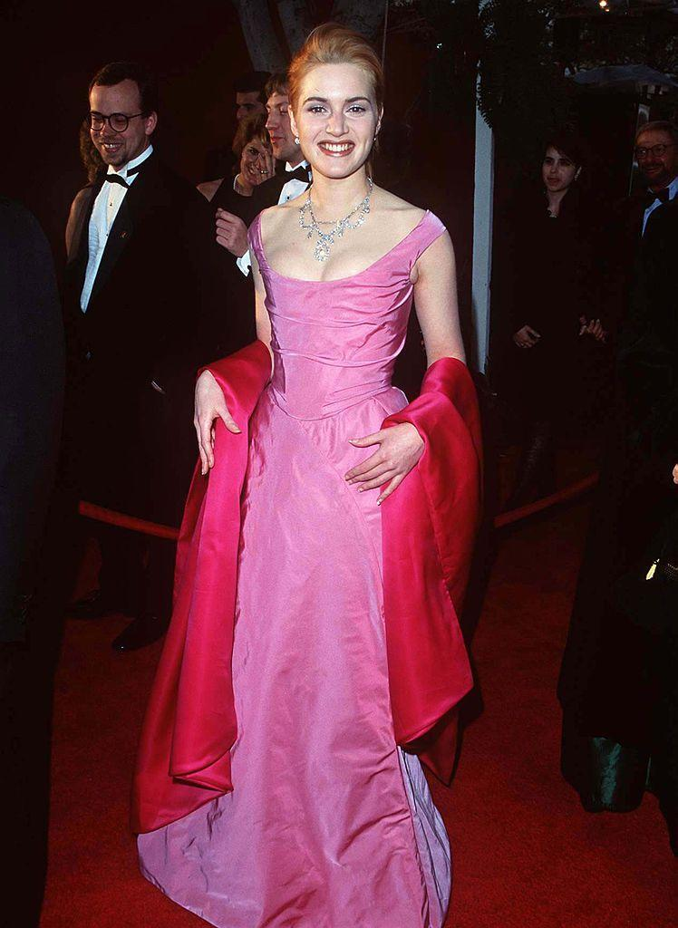 <p>A couple of years before Titanic swept the board when it came to Oscars nominations, Winslet was nominated for Sense and Sensibility. The English actor represented British fashion on the red carpet wearing a two-tone pink dress and cape by Vivienne Westwood.</p>