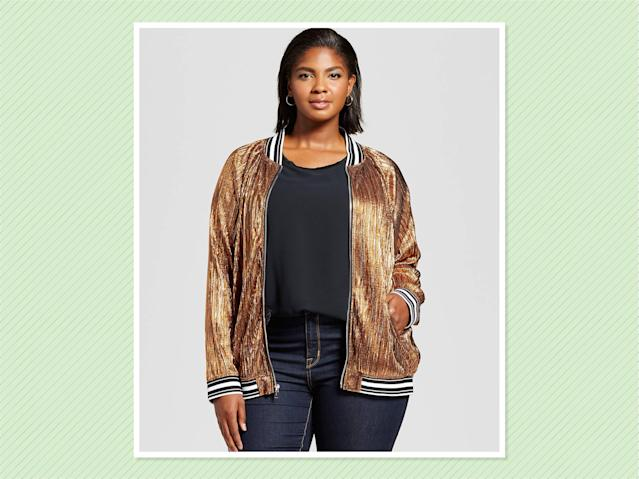 "<p>Ava & Viv Pleated Metallic Bomber, $35, <a href=""https://www.target.com/p/women-s-plus-size-pleated-metallic-bomber-jacket-ava-viv-153/-/A-52377431#lnk=sametab&preselect=52293643"" rel=""nofollow noopener"" target=""_blank"" data-ylk=""slk:Target"" class=""link rapid-noclick-resp"">Target</a> (Photo: Target) </p>"