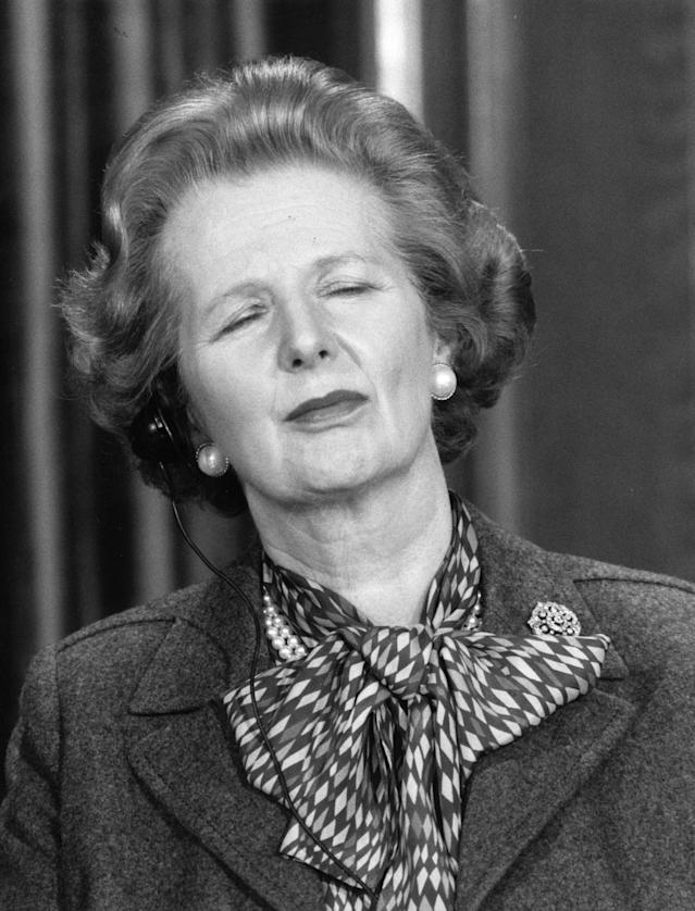 April 1987: British Prime Minister Margaret Hilda Thatcher. (Photo by Keystone/Getty Images)