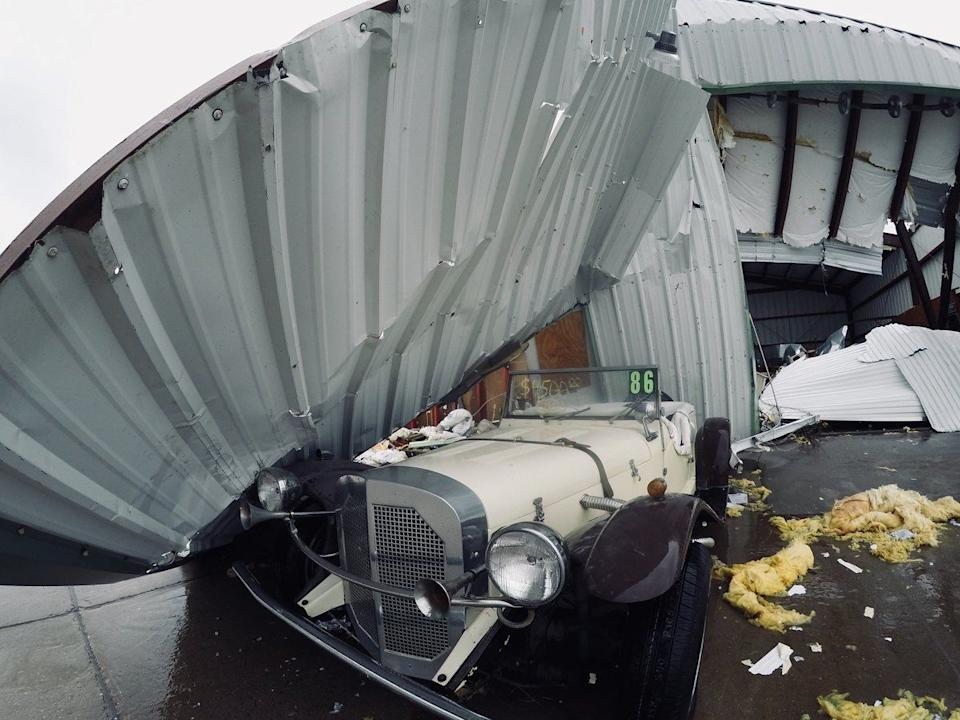 Damage is seen at a business near Rockport