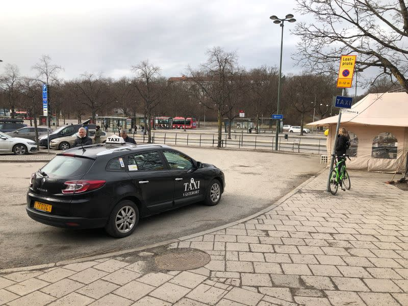 A taxi is seen in Stockholm