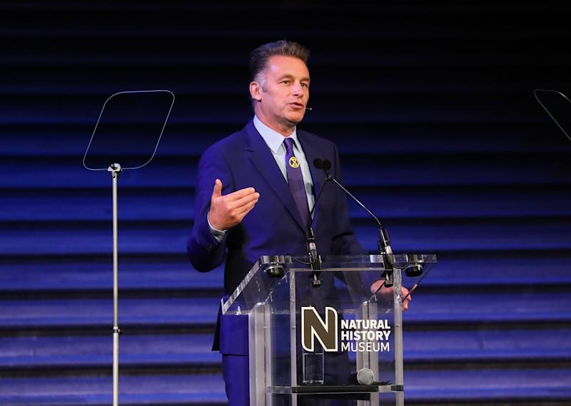 LONDON, ENGLAND - OCTOBER 15: Chris Packham speaks at the Wildlife Photographer of the Year Awards 2019, hosted in Hintze Hall at the Natural History Museum on October 15, 2019 in London, England. (Photo by Tim P. Whitby/Getty Images for the Natural History Museum)