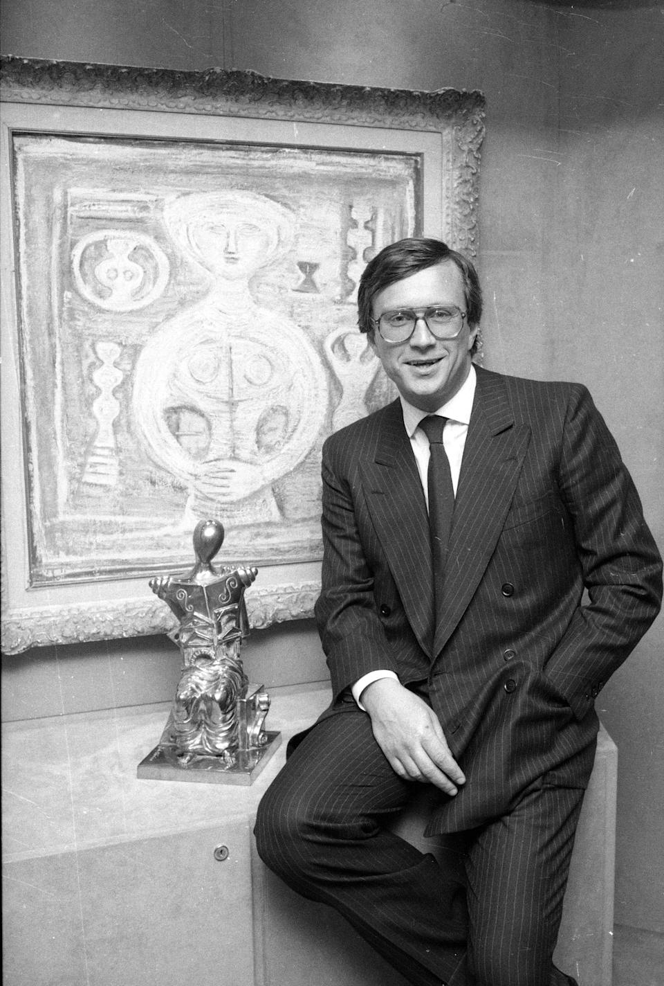 Maurizio Gucci, the new chairman of the board at Gucci, poses in the Gucci offices in New York, April 20, 1985.  The grandson of founder Guccio Gucci, Maurizio took over as head of the renowned accessory house in November after his uncle, Aldo Gucci, settled into