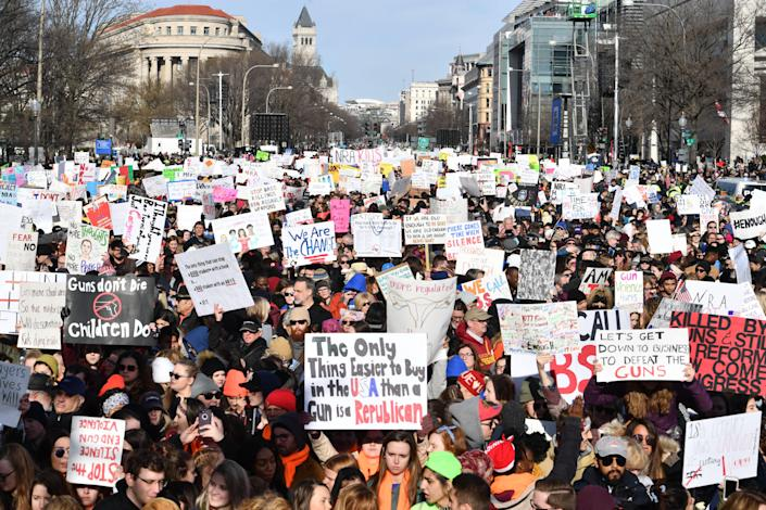 People arrive for the March for Our Lives rally against gun violence in Washington, DC. (Photo: Nicholas Kamm/AFP/Getty Images)
