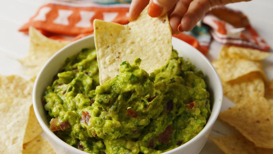 """<p>The smokiness of the grilled avocado adds such complexity.</p><p>Get the recipe from <a href=""""https://www.delish.com/cooking/recipe-ideas/a28506623/grilled-guacamole-recipe/"""" rel=""""nofollow noopener"""" target=""""_blank"""" data-ylk=""""slk:Delish"""" class=""""link rapid-noclick-resp"""">Delish</a>.</p>"""