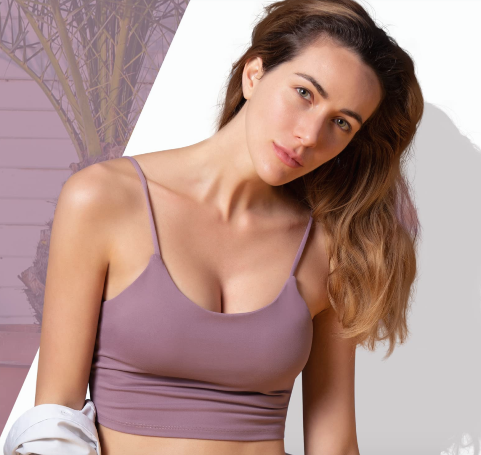 Amazon reviewers are loving this crop top/sports bra combo so much, they're buying it in all 12 colours.