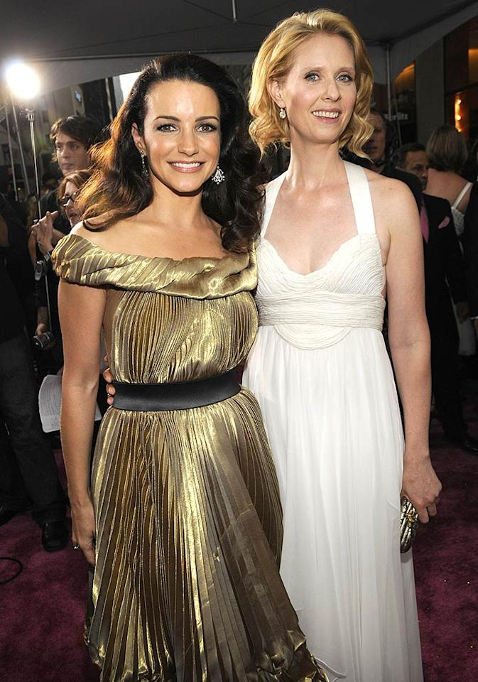 """SATC"" costars Kristin Davis and Cynthia Nixon posed together on their special night. Kevin Mazur/<a href=""http://www.wireimage.com"" target=""new"">WireImage.com</a> - May 27, 2008"