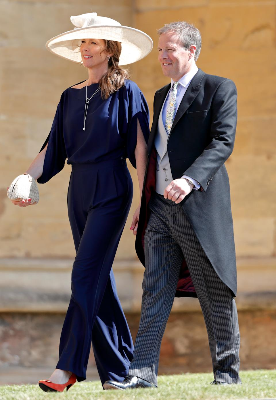 WINDSOR, UNITED KINGDOM - MAY 19: (EMBARGOED FOR PUBLICATION IN UK NEWSPAPERS UNTIL 24 HOURS AFTER CREATE DATE AND TIME) Claudia Bradby and Tom Bradby attend the wedding of Prince Harry to Ms Meghan Markle at St George's Chapel, Windsor Castle on May 19, 2018 in Windsor, England. Prince Henry Charles Albert David of Wales marries Ms. Meghan Markle in a service at St George's Chapel inside the grounds of Windsor Castle. Among the guests were 2200 members of the public, the royal family and Ms. Markle's Mother Doria Ragland. (Photo by Max Mumby/Indigo/Getty Images)