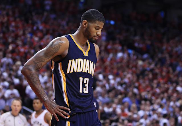 "<a class=""link rapid-noclick-resp"" href=""/nba/players/4725/"" data-ylk=""slk:Paul George"">Paul George</a> thinks the Pacers' revamped roster can challenge the Cavs in the East. (Getty Images)"