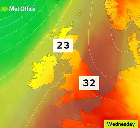 Scorching heat will hit the UK on Wednesday (Met Office)