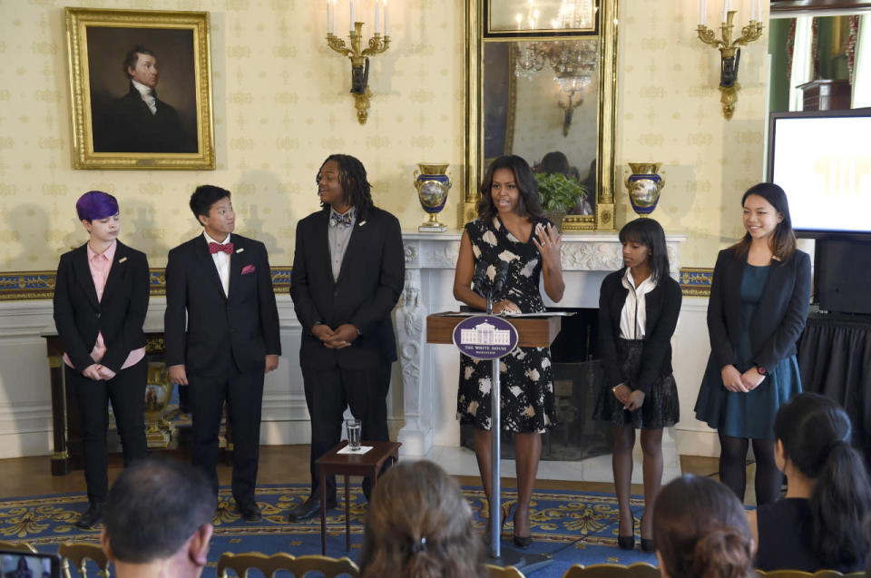 <p>The first lady combined spring florals with a dark winter color to come together in one dress perfect for fall. Next to the pattern, the draped neckline was a close second to best feature.</p>