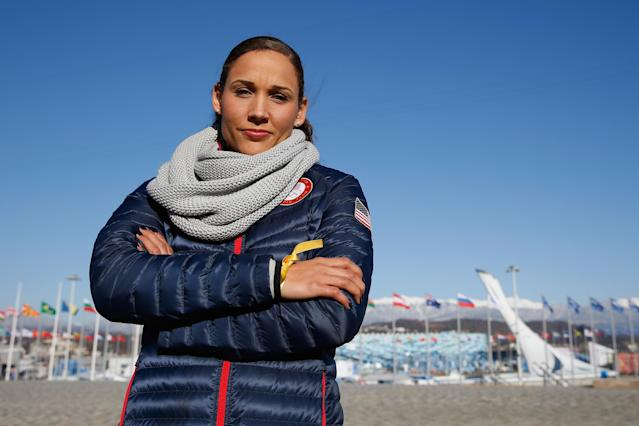 SOCHI, RUSSIA - FEBRUARY 03: (BROADCAST-OUT) Bobsledder Lolo Jones of the United States visits the set of The Today Show ahead of the 2014 Winter Olympics in the Olympic Park on February 3, 2014 in Sochi, Russia. (Photo by Scott Halleran/Getty Images)