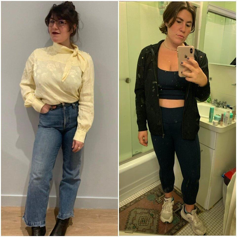 """""""I wore these Rag & Bone jeans at least once a week when I was working in my office, typically with a vintage (or, in this case, vintage-looking) blouse tucked in. I now live in matching workout sets, but I have started doing my hair and makeup again to feel something."""""""