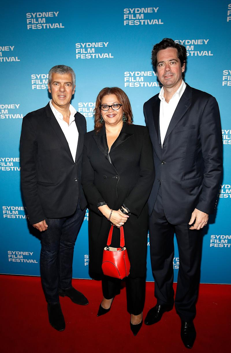 SYDNEY, AUSTRALIA - JUNE 07: Director Ian Darling, Tanya Hosch - AFL GM Inclusion and Social Policy and AFL CEO Gillon McLachlan attend the world premiere of The Final Quarter during the Sydney Film Festival at State Theatre on June 07, 2019 in Sydney, Australia. (Photo by Ryan Pierse/Getty Images)