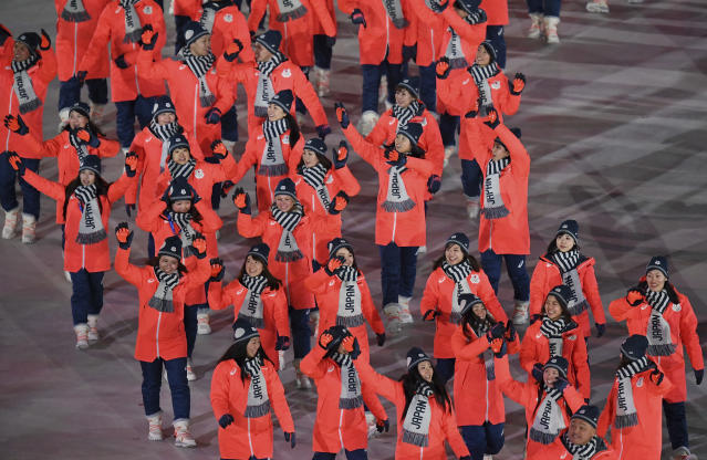 <p>Japan arrives during the opening ceremony of the 2018 Winter Olympics in Pyeongchang, South Korea, Friday, Feb. 9, 2018. (Franck Fife/Pool Photo via AP) </p>