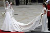 <p>The bride's Alexander McQueen gown, designed by Sarah Burton, has gone down in history for its grace, elegance and celebration of British fashion.</p><p>Included in the details of the dress were lace flowers to symbolise Great Britain. Handmade lace roses, thistles, daffodils and shamrocks were woven into the gown.</p>