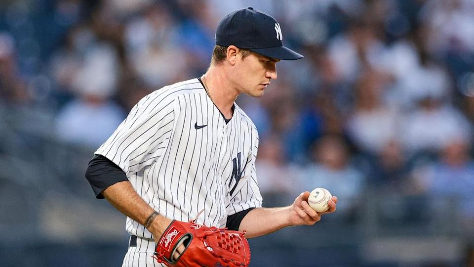 Aug 2, 2021; Bronx, New York, USA; New York Yankees starting pitcher Andrew Heaney (38) reacts after allowing back to back home runs during the third inning against the Baltimore Orioles at Yankee Stadium.