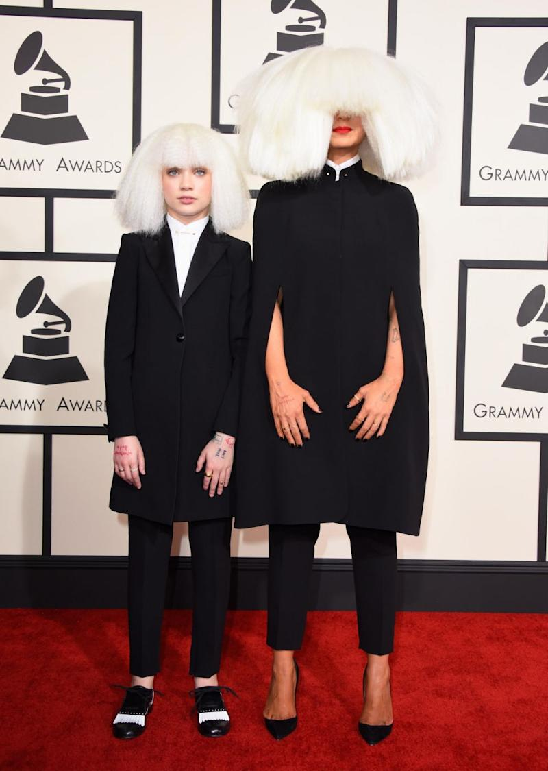 Dancer Maddie Ziegler and singer/songwriter Sia attend The 57th Annual GRAMMY Awards at the STAPLES Center on February 8, 2015 in Los Angeles. Source: Getty