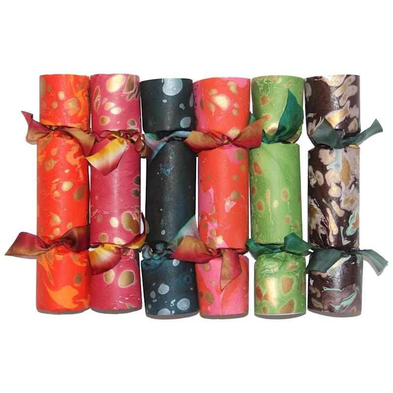 Rebecca Gardner x Courtland & Co. marbled party crackers; $87 for a set of six. courtlandandco.com