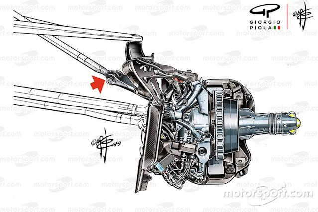 "Mercedes AMG F1 W10 bracket technical detail <span class=""copyright"">Giorgio Piola</span>"