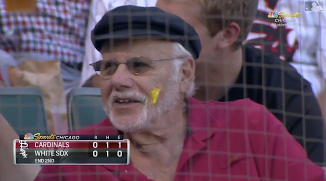 It was dollar dog night at the White Sox game, and this fan enjoyed himself so much that he left a mustard souvenir on his face for later. (MLB.com)