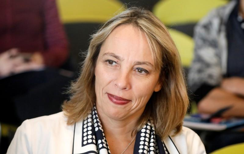 Newly-appointed interim CEO Clotilde Delbos attends a news conference at French carmaker Renault headquarters in Boulogne-Billancourt