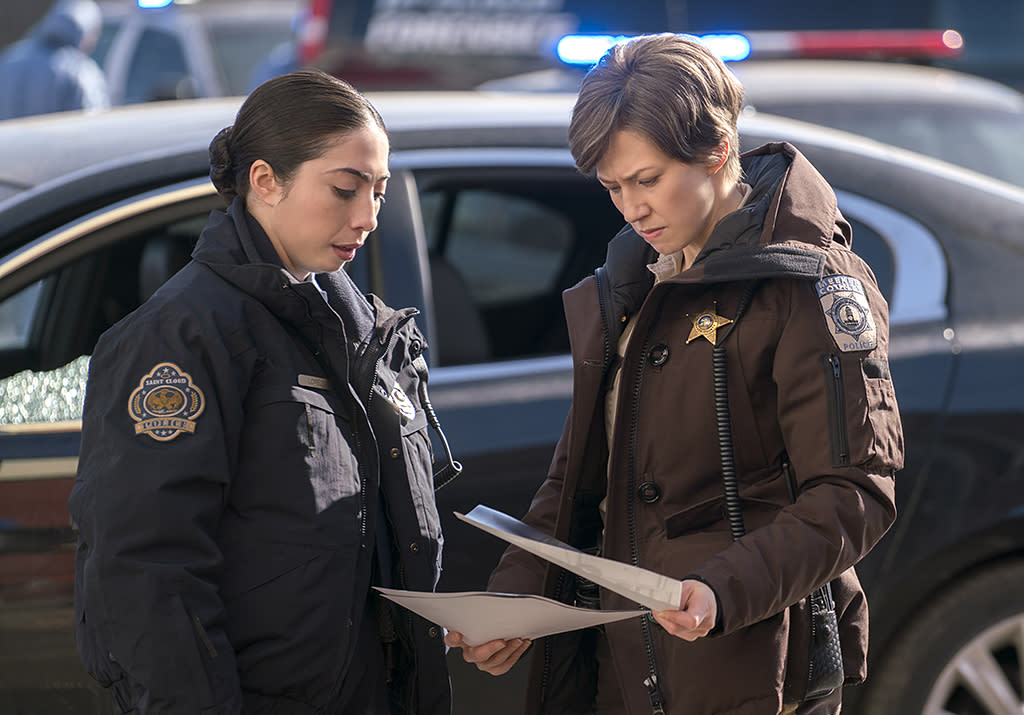 <p>Olivia Sandoval as Winnie Lopez, Carrie Coon as Gloria Burgle in FX's <i> Fargo</i>. (Photo: Chris Large/FX) </p>