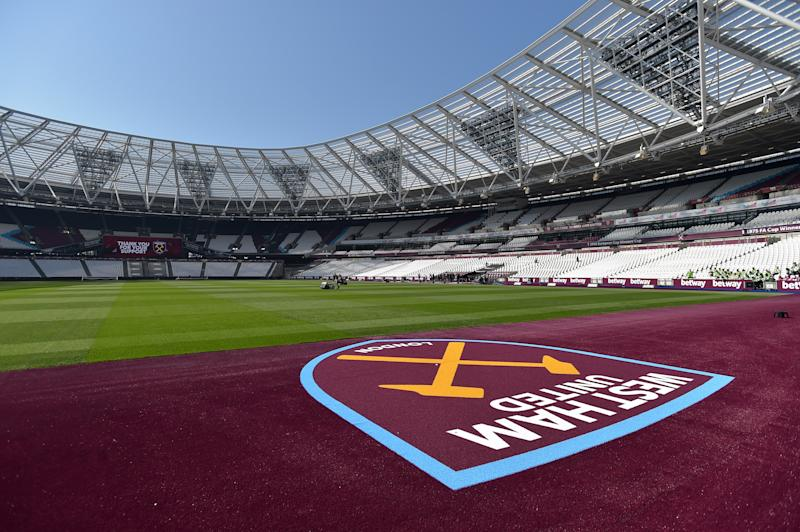 LONDON, ENGLAND - APRIL 20: A General View of the New Pitch Surround around the Pitch before the Premier League match between West Ham United and Leicester City at London Stadium on April 20, 2019 in London, United Kingdom. (Photo by Arfa Griffiths/West Ham United FC via Getty Images)