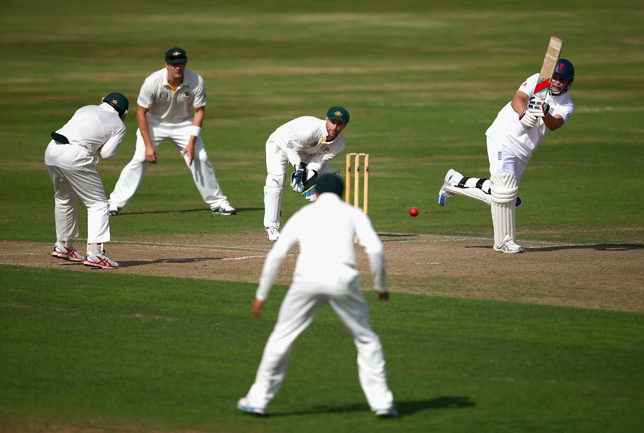 NORTHAMPTON, ENGLAND - AUGUST 16:  Gary Ballance of England Lions bats as Matthew Wade of Australia keeps wicket during Day One of the Tour Match between England Lions and Australia at The County Ground on August 16, 2013 in Northampton, England.  (Photo by Ryan Pierse/Getty Images)