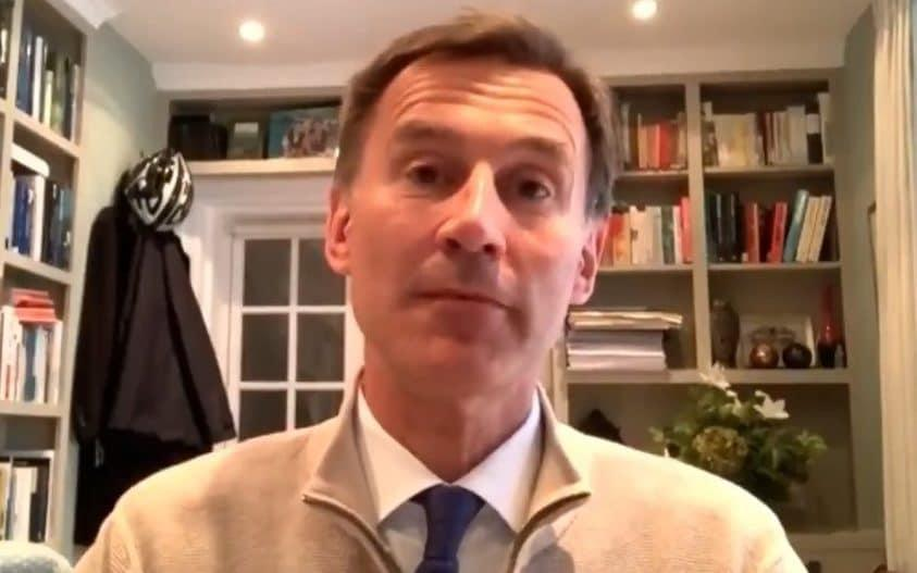 Jeremy Hunt said Sage had given ministers the wrong advice at the start of the crisis by failing to propose a test and trace strategy