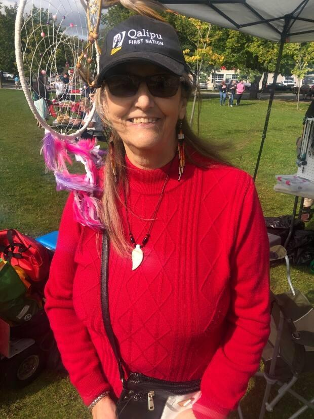 Marilyn Matthews is a Mi'kmaw craftsperson from Corner Brook who sold her handmade jewelry at Wednesday's 10-year anniversary festival. (Colleen Connors/CBC  - image credit)