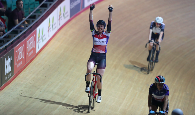 Katie Archibald in action at Six Day in Manchester