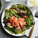 <p>This twist on a classic salade Niçoise uses smoked salmon in place of tuna and adds extra vegetables in place of hard-boiled eggs and olives. Lovely served as an untraditional brunch, special weekend lunch or light supper.</p>