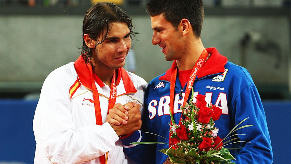 Rafael Nadal and Novak Djokovic, pictured here at the 2008 Olympics in Beijing.