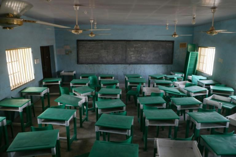 Empty: A deserted classroom at the Government Girls Secondary School in Jangebe