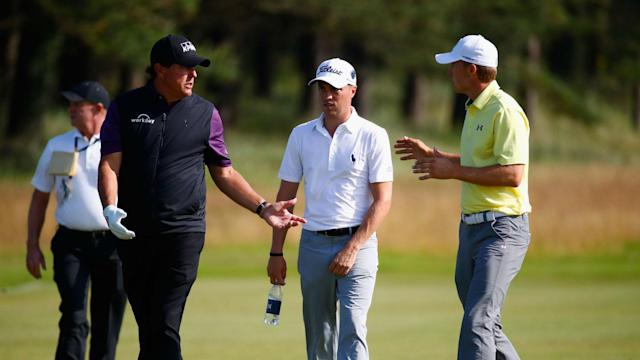 Jon Rahm, Jordan Spieth and Phil Mickelson commanded centre stage at The Open on Tuesday as they played together in a practice round.
