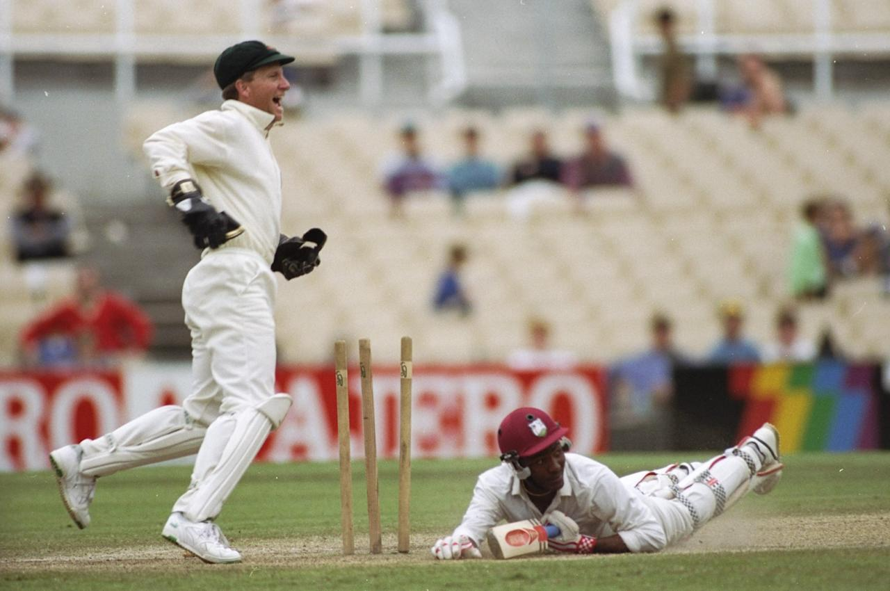 6 Jan 1993:  Brian Lara of the West Indies is run out after scoring 277 runs during the Third Test match against Australia at Sydney Cricket Ground in Australia. The match ended in a draw. \ Mandatory Credit: Allsport UK /Allsport