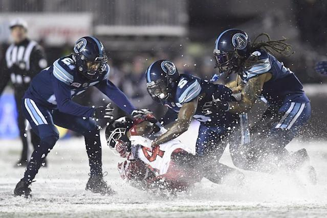 TORONTO — The Toronto Argonauts re-signed American defensive back Qudarius Ford through the 2020 season Tuesday. Ford, 26, suffered a season-ending injury in Toronto's opening game of the '18 campaign. The native of Pensacola, Fla., started seven games in 2017, registering 22 tackles, one sack and three pass knockdowns. He added a team-high eight tackles in Toronto's Grey Cup victory over Calgary. The Canadian Press