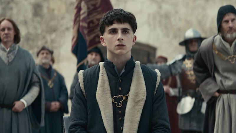 Timothée Chalamet as King Henry V in historical drama 'The King'. (Credit: Netflix)