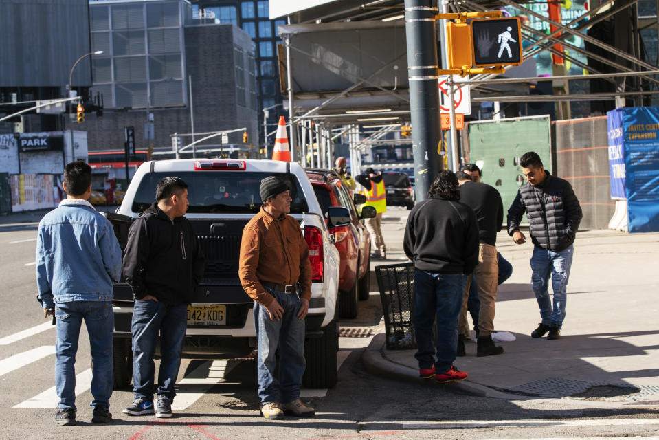 NEW YORK, NY - MARCH 26: People wait to get an interview for job in a construction on March 26, 2020 in New York City, New York. At least 3.3 million people applied for unemployment benefits during last week, while across the country schools, businesses and places of work have either been shut down or are restricting hours of operation as health officials try to slow the spread of COVID-19. (Photo by Eduardo Munoz Alvarez/Getty Images)