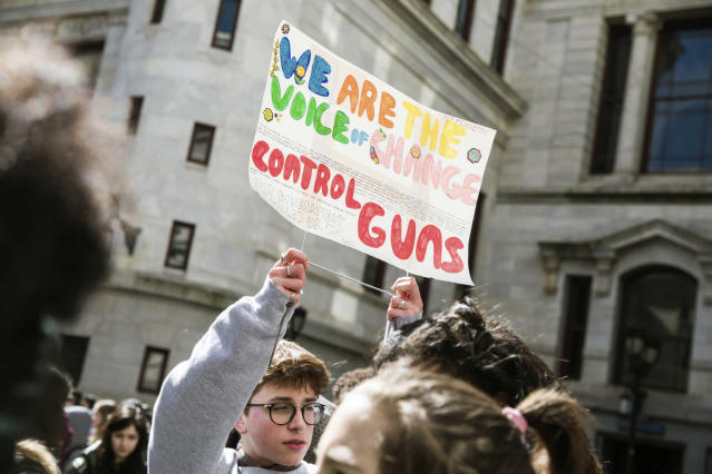 <p>A student holds up a sign in the City Hall courtyard during a school walkout to protest gun violence on Friday, April 20, 2018. Thousands of protests were planned across the country Friday on the 19th anniversary of the Columbine High School shooting. (Photo: Sydney Schaefer/The Philadelphia Inquirer via AP) </p>