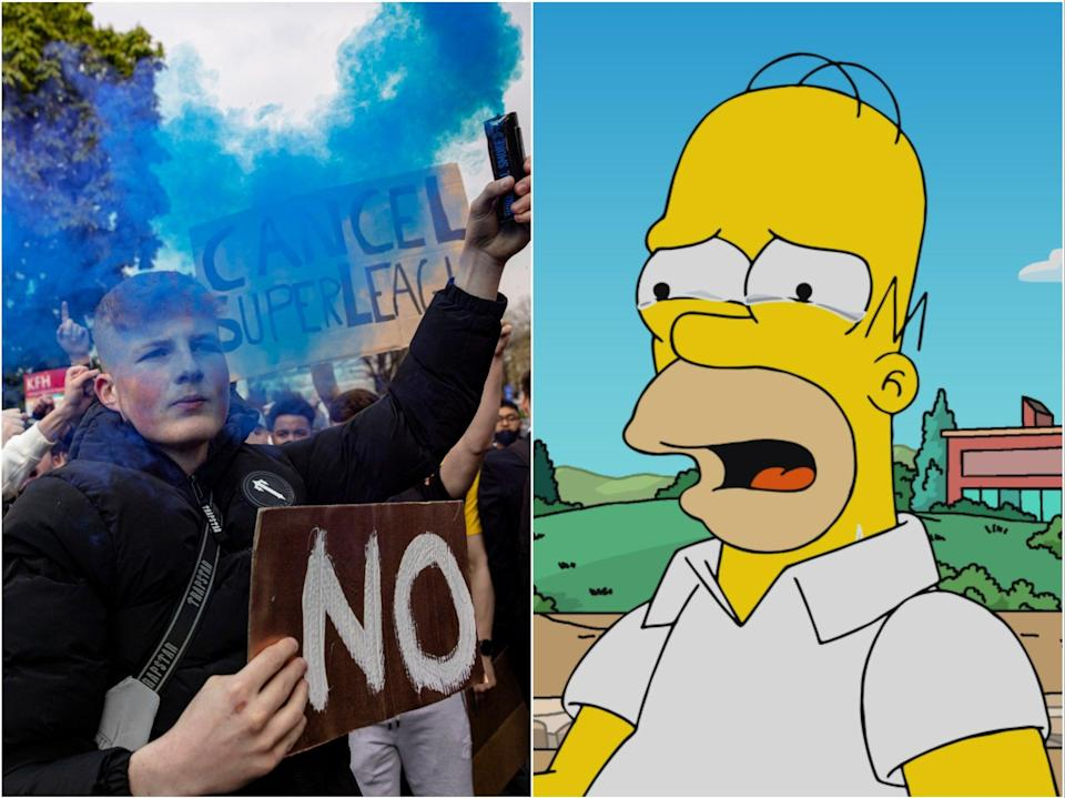 (Left) Protesters outside Stamford Bridge rallying against the European Super League and (right) Homer Simpson (Getty/Fox)