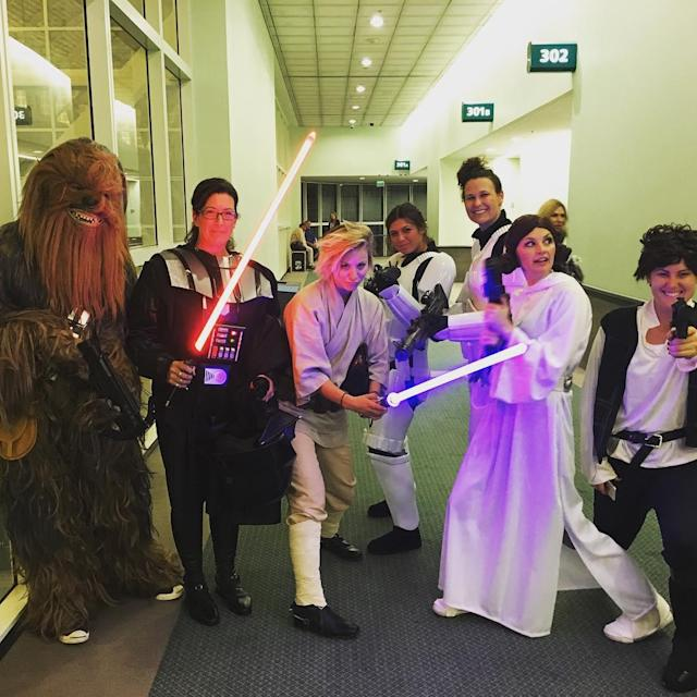 "<p>If you expected that Cuoco would be dressed as Princess Leia, you'd be wrong. The actress rocked her best <a href=""https://www.instagram.com/p/8aD7FjuWZ-/?utm_source=ig_embed"" rel=""nofollow noopener"" target=""_blank"" data-ylk=""slk:Luke Skywalker costume"" class=""link rapid-noclick-resp"">Luke Skywalker costume</a> for a 2015 charity event. (Photo: Kaley Cuoco via Instagram) <br><br></p>"