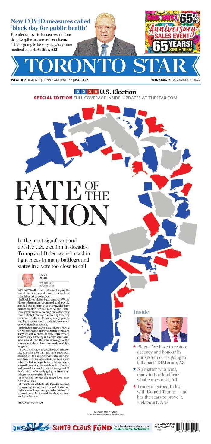 "TORONTO STAR, Published in Toronto, Canada (Courtesy <a href=""https://www.newseum.org/todaysfrontpages/"" rel=""nofollow noopener"" target=""_blank"" data-ylk=""slk:Newseum"" class=""link rapid-noclick-resp"">Newseum</a>)"