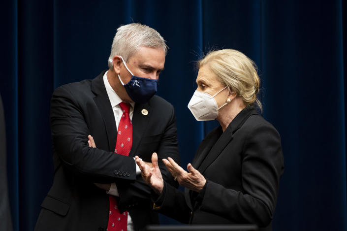 Rep. James Comer, R-Ky., talks with Chairwoman Carolyn Maloney, D-N.Y., before a House Oversight and Reform Committee regarding the on Jan. 6 attack on the U.S. Capitol, on Capitol Hill in Washington, Wednesday, May 12, 2021. (Bill Clark/Pool via AP)